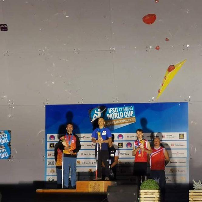 El deportista de Monachil Javi Aguilar, ciego total, se proclama subcampeón del mundo de paraescalada