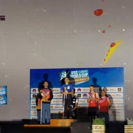 Javi Aguilar en el podium (AYTO. MONACHIL)