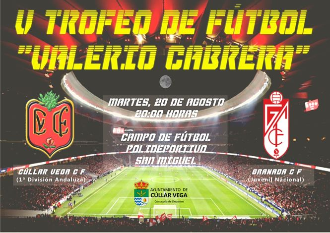 El Juvenil del Granada CF y el Cúllar Vega disputarán el quinto trofeo de fútbol 'Valerio Cabrera'