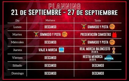 Planning semanal del Covirán Granada (FUNDACIÓN CB GRANADA)
